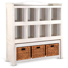 Storage Bookcase with Trundle Bench