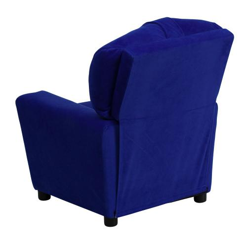 Alamont Furniture - Contemporary Blue Microfiber Kids Recliner with Cup Holder