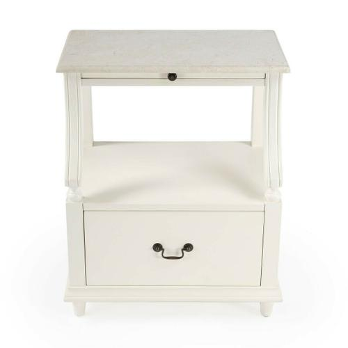 This charming nightstand is a near-perfect bedside companion ™ it stores nearly everything you want just within arm's reach. It features a spacious display shelf to charge a phone or tablet, a pull-out tray to place that morning cup of coffee, and an