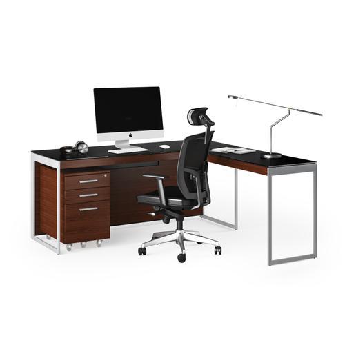 BDI Furniture - Sequel 20 6101 Desk in Chocolate Walnut Satin Nickel