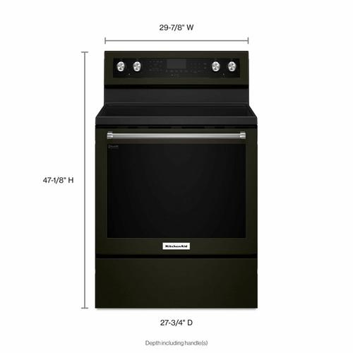 KitchenAid - 30-Inch 5-Element Electric Convection Range - Black Stainless Steel with PrintShield™ Finish