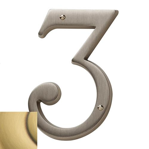 Satin Brass and Brown House Number - 3
