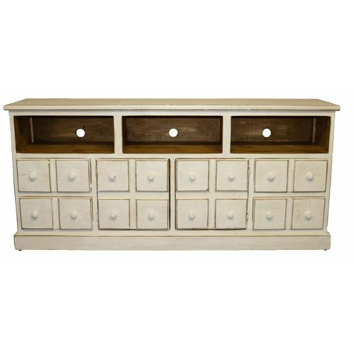 """Million Dollar Rustic - 70"""" Weathered White 2 Dr 2 Dwr TV"""