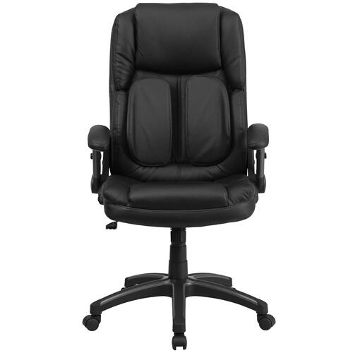 Extreme Comfort High Back Black Leather Executive Swivel Chair with Flip-Up Arms