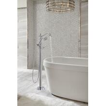 White Freestanding Tub with Integrated Waste and Overflow