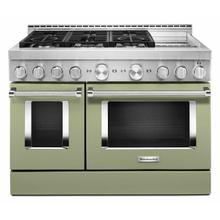 See Details - KitchenAid® 48'' Smart Commercial-Style Gas Range with Griddle - Matte Avocado Cream
