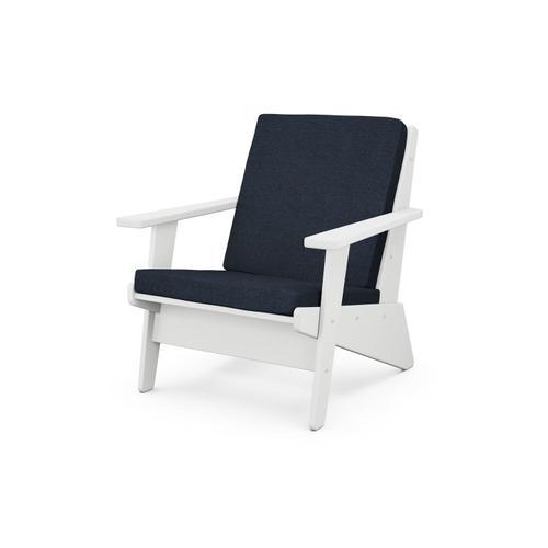 White & Marine Indigo Riviera Modern Lounge Chair