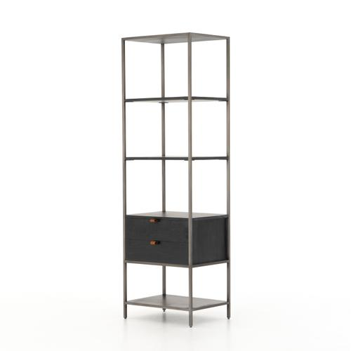 Black Wash Poplar Finish Trey Bookshelf