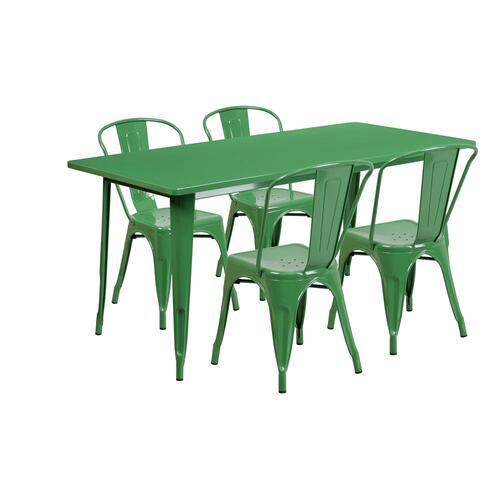 31.5'' x 63'' Rectangular Green Metal Indoor-Outdoor Table Set with 4 Stack Chairs