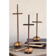 View Product - set of 3 scrap metal crosses with caged rock bases