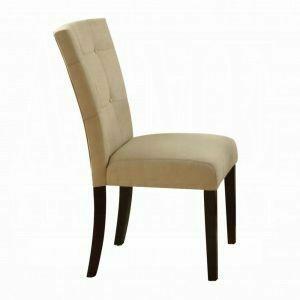 ACME Baldwin Side Chair (Set-2) - 16837 - Beige Microfiber & Walnut