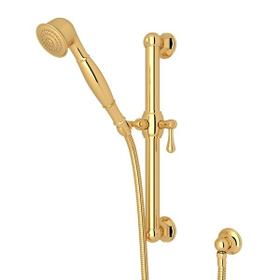 "Italian Brass 24"" Palladian Decorative Grab Bar Set With Single-Function Handshower/Hose/Outlet"