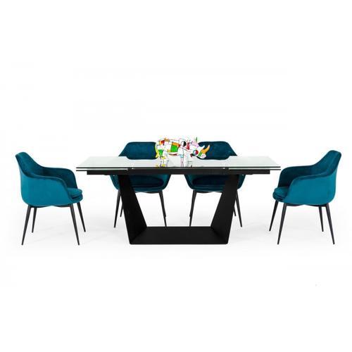 VIG Furniture - Modrest Bronwin - Modern Glass & Black Metal Extendable Dining Table