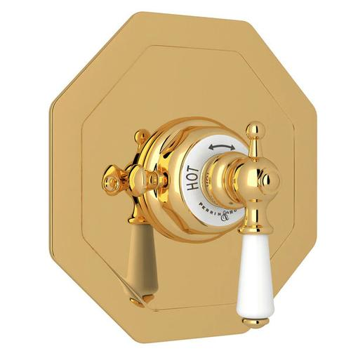 Edwardian Octagonal Concealed Thermostatic Trim without Volume Control - Unlacquered Brass with Metal Lever Handle