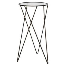 """Product Image - 13.25"""" Round x 24""""H Metal Accent Table with Glass Top, Bronze Finish"""