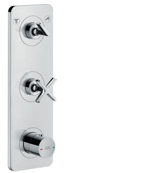 Polished Black Chrome Thermostatic module 380/120 for concealed installation for 2 functions with plate Product Image