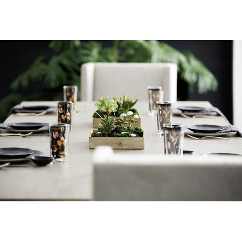 Linea Rectangular Dining Table in Cerused Greige (384), Textured Graphite Metal (384)