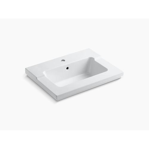White Vanity-top Bathroom Sink With Single Faucet Hole