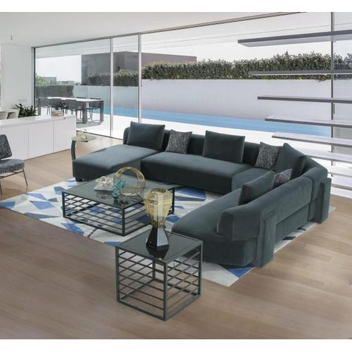 VIG Furniture - Divani Casa Bayou - Contemporary Blue Velvet U Shaped Sectional Sofa