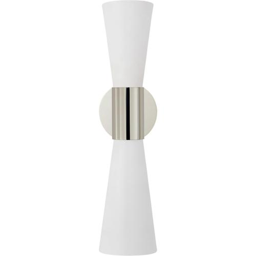 AERIN Clarkson 2 Light 5 inch Polished Nickel Narrow Sconce Wall Light, Medium