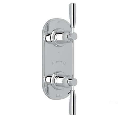 "Polished Chrome Perrin & Rowe Holborn 1/2"" Thermostatic/Diverter Control Trim with Holborn Metal Lever"