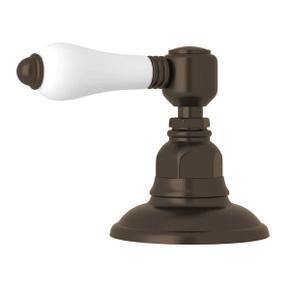 Deck Mount 3-Port 2 Direction Diverter - Tuscan Brass with White Porcelain Lever Handle