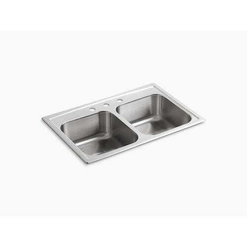 "33"" X 22"" X 8-3/16"" Top-mount Double-equal Bowl Kitchen Sink With 3 Faucet Holes"