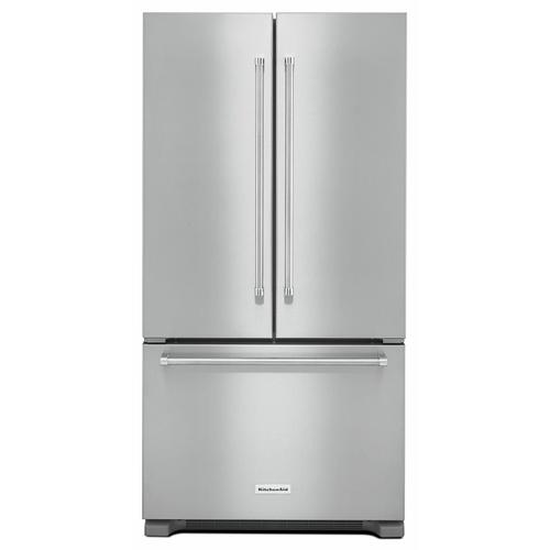 KitchenAid - 22 cu. ft. 36-Inch Width Counter Depth French Door Refrigerator with Interior Dispense - Stainless Steel