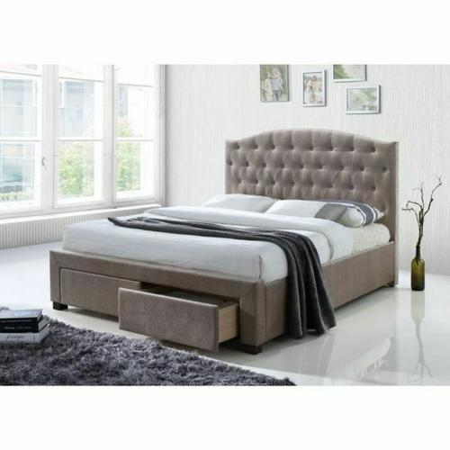 ACME Denise Eastern King Bed w/Storage - 25667EK - Mink Fabric