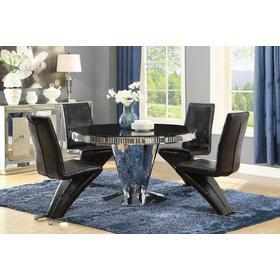 Barzini Dining Contemporary Black Pedestal Dining Table