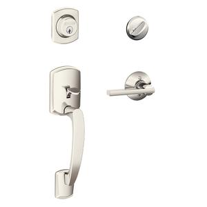 Greenwich Single Cylinder Handleset and Latitude Lever - Polished Nickel Product Image