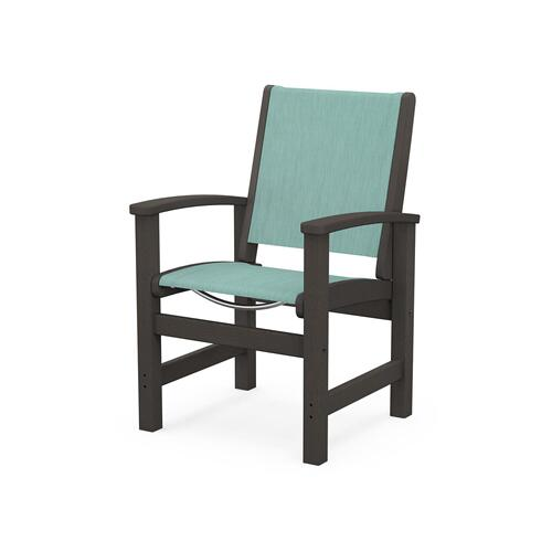 Polywood Furnishings - Coastal Dining Chair in Vintage Coffee / Aquamarine Sling