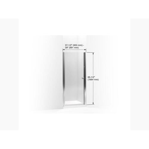 """Crystal Clear Glass With Bright Silver Frame Pivot Shower Door, 65-1/2"""" H X 37-1/2 - 39"""" W, With 1/4"""" Thick Crystal Clear Glass"""