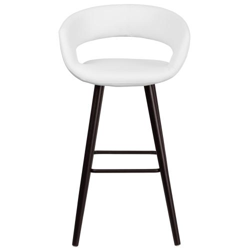 29'' High Contemporary Cappuccino Wood Barstool in White Vinyl