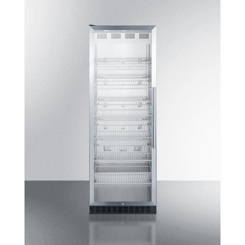 Full-size Commercial Beverage Merchandiser Designed for the Display and Refrigeration of Beverages and Sealed Food, With Stainless Steel Interior, Self-closing Glass Door With A Left Hand Swing, and Black Cabinet