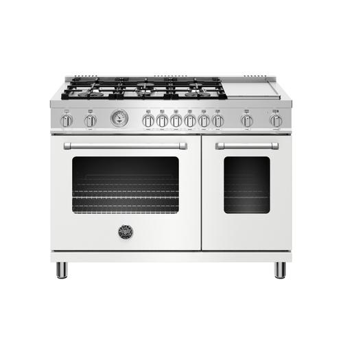 48 inch All Gas Range, 6 Burner and Griddle Bianco Matt