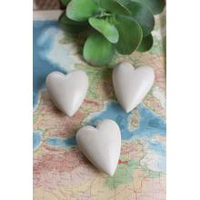 See Details - set of 6 hand carved stone hearts \ light grey