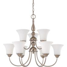 Dupont - 9 Light 2 Tier Chandelier with Satin White Glass - Brushed Nickel Finish