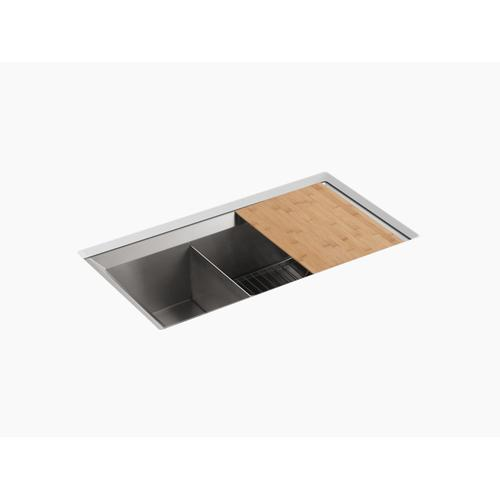 """33"""" X 18"""" X 9-1/2"""" Undermount Large/medium Double-bowl Kitchen Sink, Includes Cutting Board and Rack"""