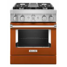 View Product - KitchenAid® 30'' Smart Commercial-Style Dual Fuel Range with 4 Burners - Scorched Orange