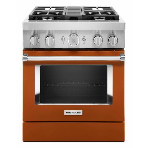 KitchenAid - KitchenAid® 30'' Smart Commercial-Style Dual Fuel Range with 4 Burners - Scorched Orange
