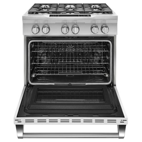 Gallery - 36'' 6-Burner Dual Fuel Freestanding Range, Commercial-Style Imperial White