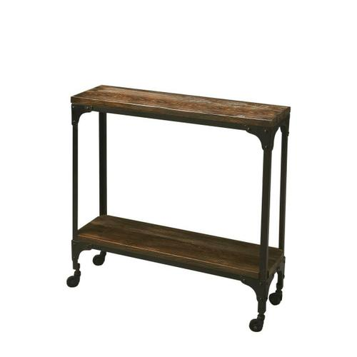 Butler Specialty Company - Hand-crafted from iron and mango wood, this rustic console table on casters offers a portable option for serving guests. It offers a tabletop display and a matching lower display shelf. Its black iron frame and burnt umber wood finish are complimentary to one another.