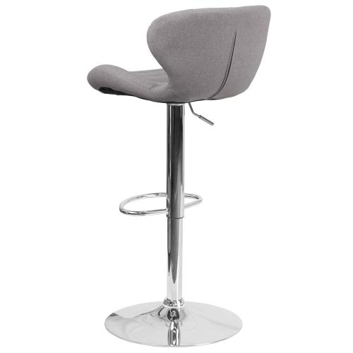 Alamont Furniture - Contemporary Gray Fabric Adjustable Height Barstool with Chrome Base