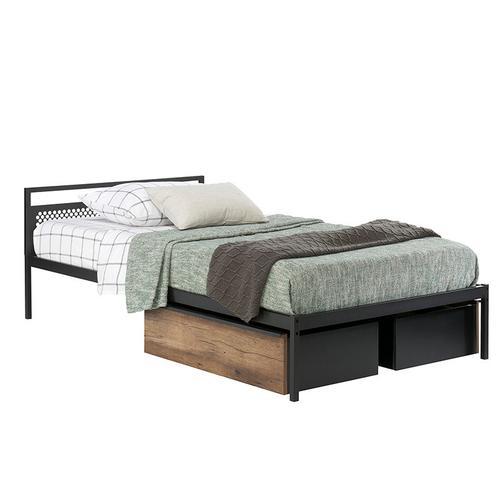 Modern Metal & Wood Twin Mate's Bed