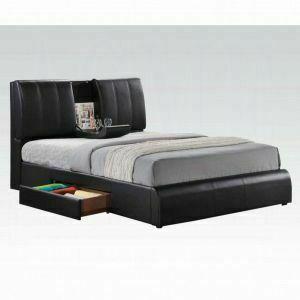 ACME Kofi Queen Bed w/Storage - 21270Q KIT - Black PU