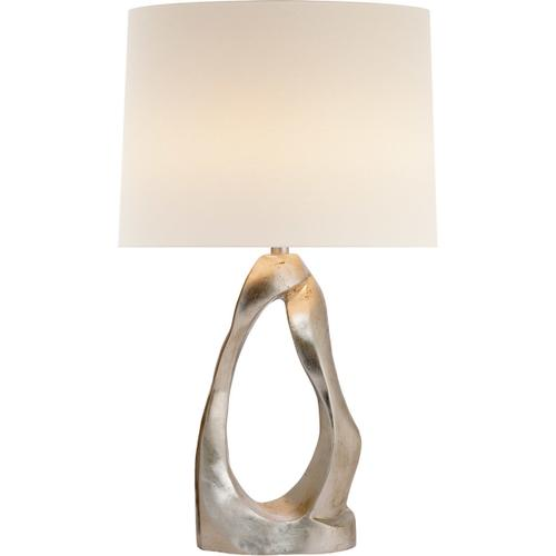 AERIN Cannes2 31 inch 150 watt Burnished Silver Leaf Table Lamp Portable Light