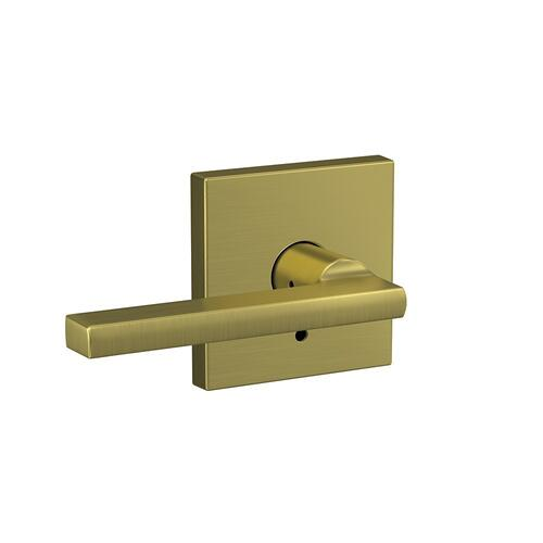 Custom Latitude Lever with Collins Trim Hall-Closet and Bed-Bath Lock - Satin Brass