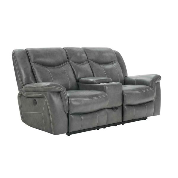 See Details - Conrad Transitional Grey Power Loveseat