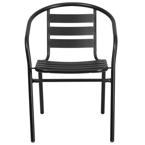 Black Metal Restaurant Stack Chair with Aluminum Slats